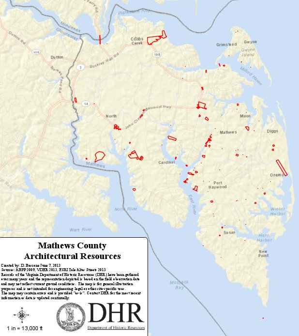 Inventoried architectural resources in Mathews County (Virginia Department of Historic Resources).