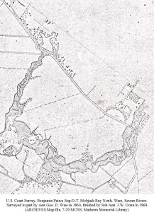 North End 1868 shoreline map section
