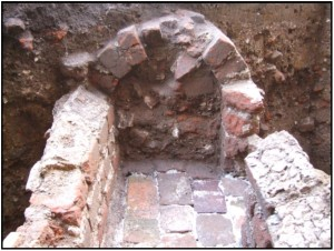 Profile of arched brick drain at Rosewell
