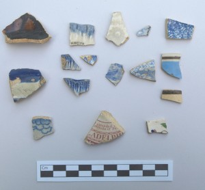 A sample of historic ceramic artifacts recovered during archaeology on the Walter Reed Birthplace original parcel.